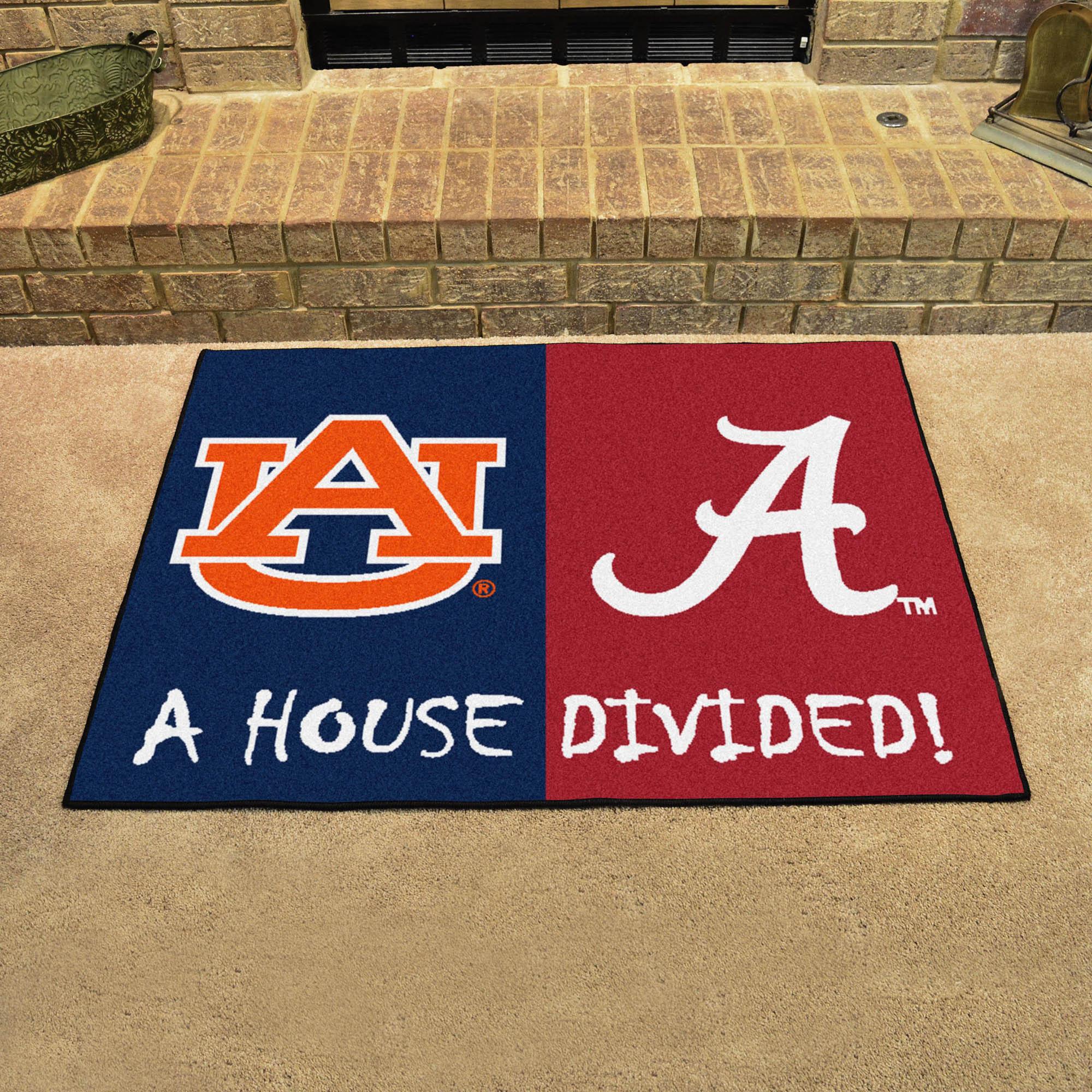 NCAA House Divided Rivalry Rug Alabama Crimson Tide
