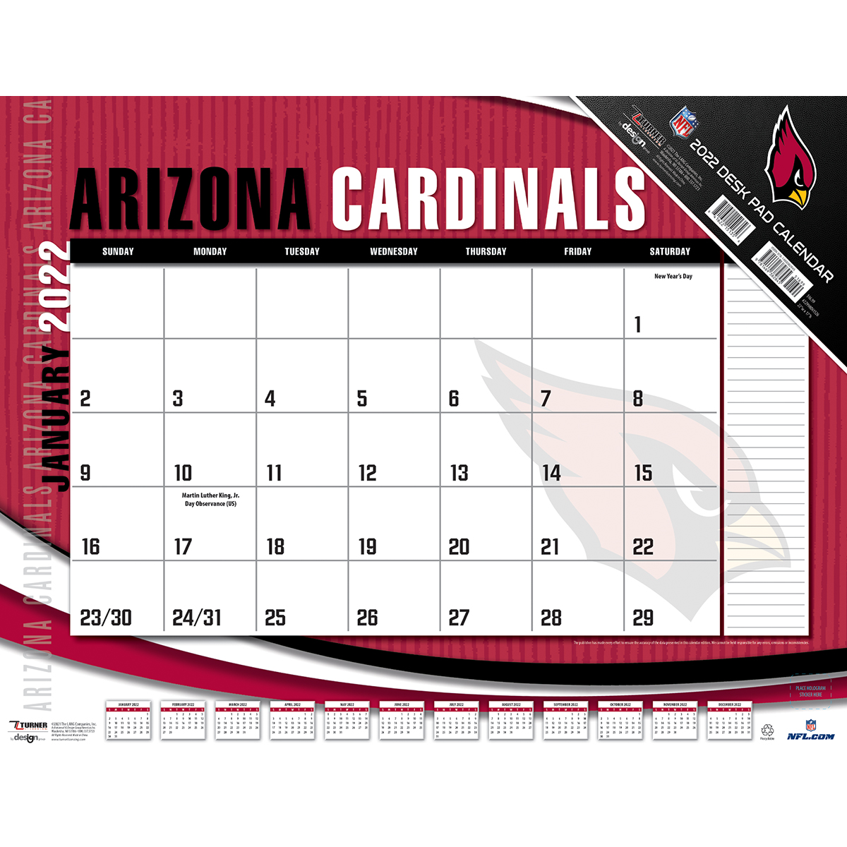 Arizona Cardinals 2019 NFL 22 X 17 Desk Calendar