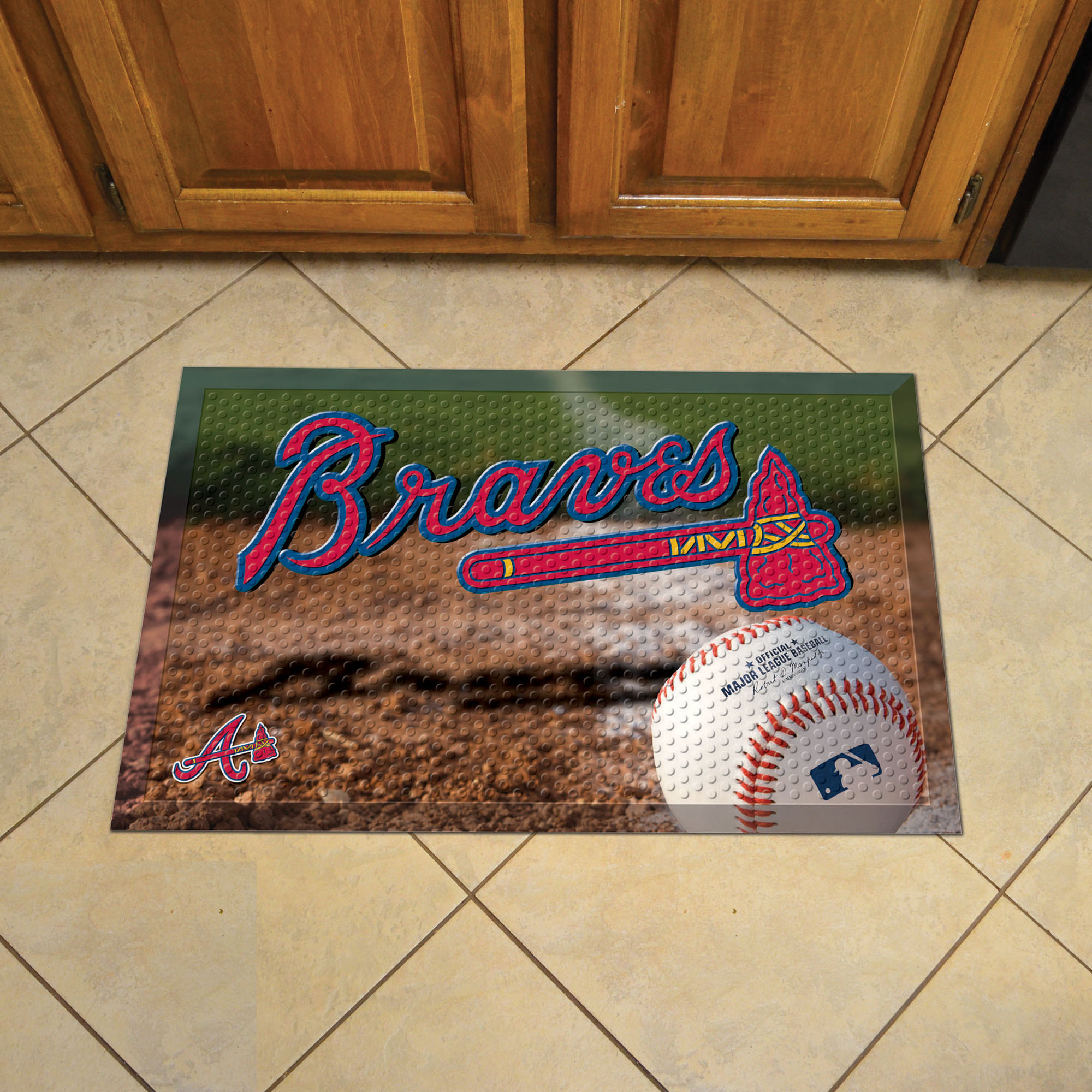 Atlanta Braves Ball Style SCRAPER Door Mat