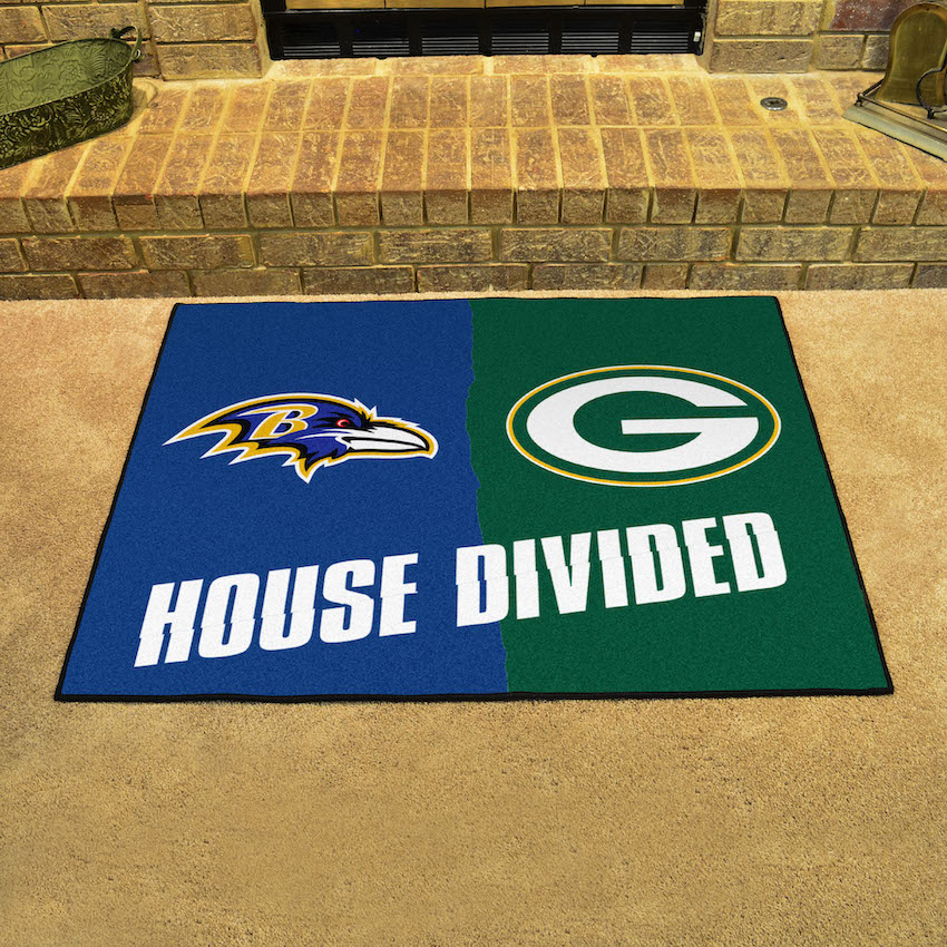 NFL House Divided Rivalry Rug Baltimore Ravens - Green Bay Packers