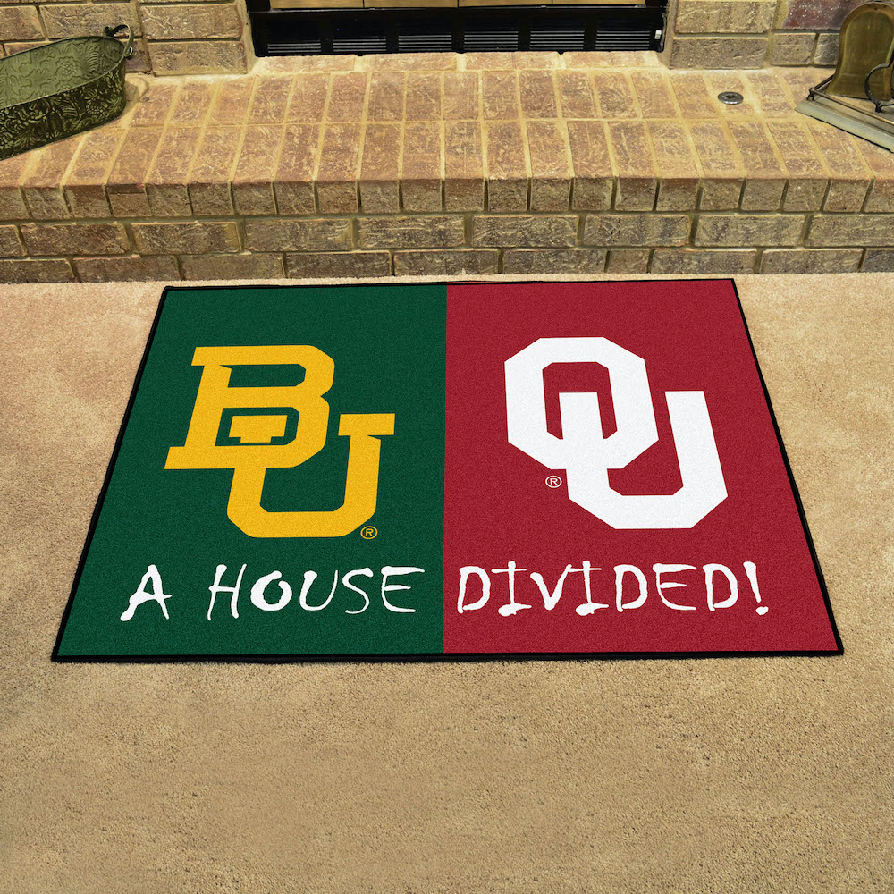 NCAA House Divided Rivalry Rug Baylor Bears - Oklahoma Sooners
