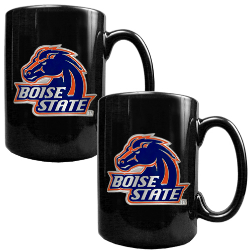 Boise State Broncos 2pc Black Ceramic Ncaa Coffee Mug Set