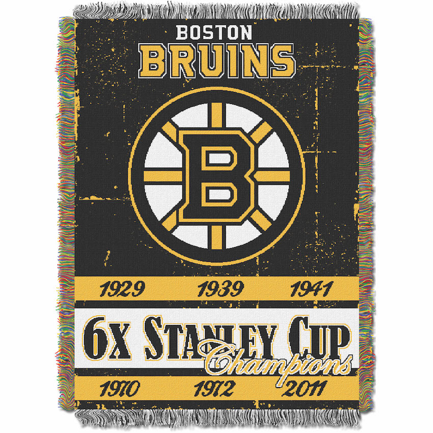 Boston Bruins Commemorative Stanley Cup Tapestry Throw