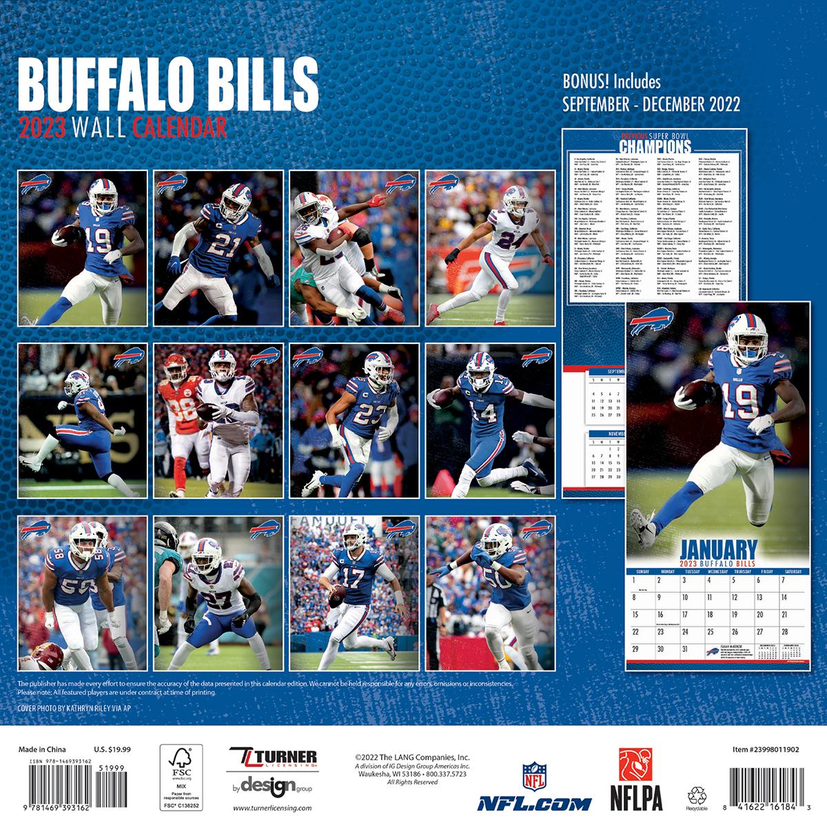 Buffalo Bills 2019 Nfl Wall Calendar Buy At Khc Sports