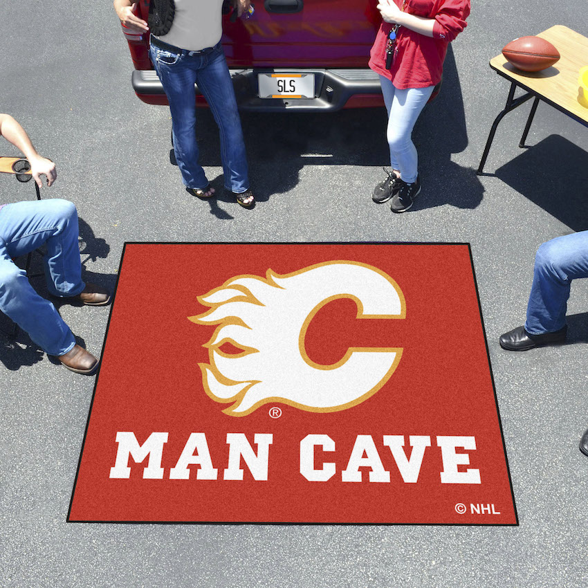 Calgary Flames MAN CAVE TAILGATER 60 x 72 Rug