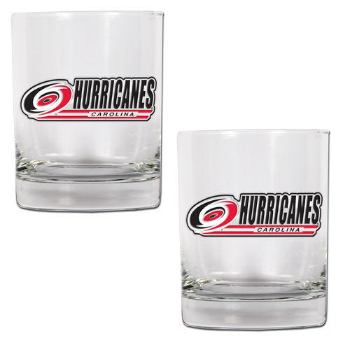 Carolina Hurricanes NHL Logo 2pc Rocks Glass Set