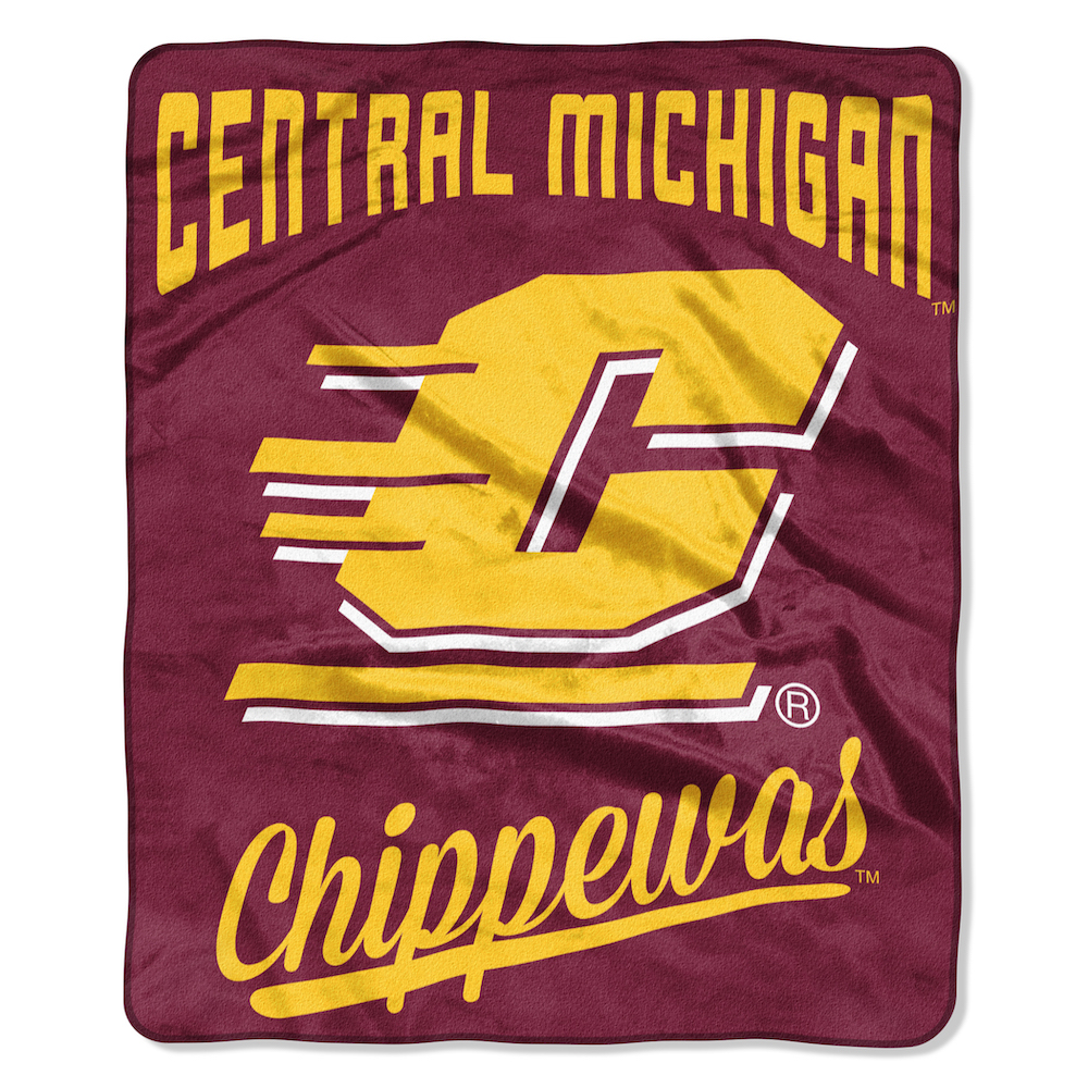 Central Michigan Chippewas Plush Fleece Raschel Blanket 50 x 60