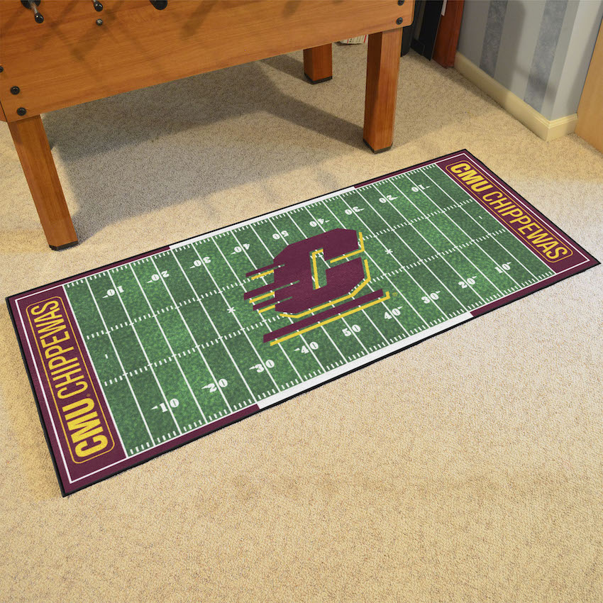 Central Michigan Chippewas 30 x 72 Football Field Carpet Runner