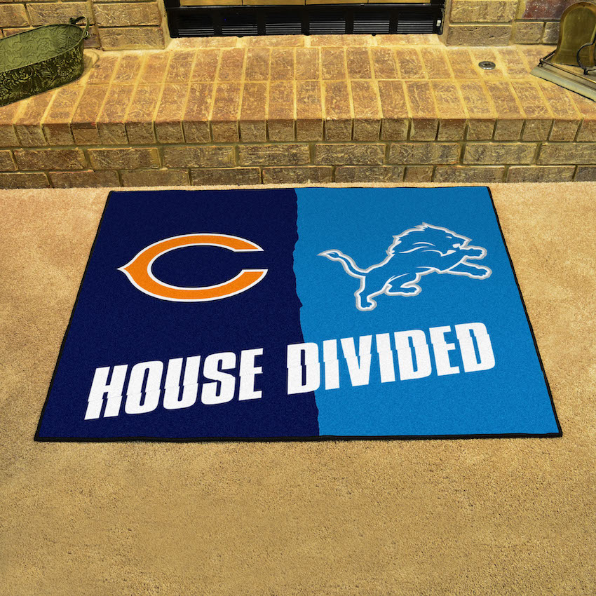 NFL House Divided Rivalry Rug Chicago Bears - Detroit Lions