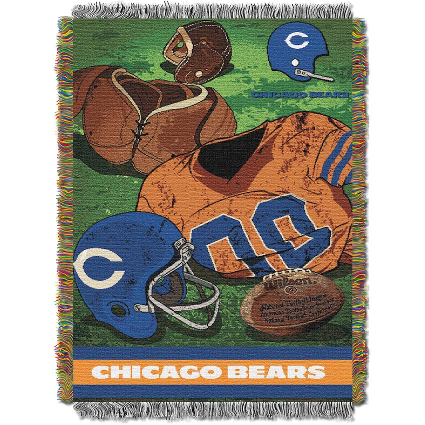 Chicago Bears Commemorative VINTAGE Tapestry Throw