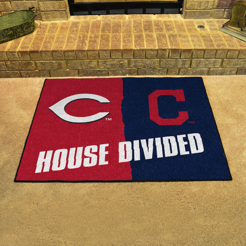 MLB House Divided Rivalry Rug Cincinnati Reds - Cleveland Indians