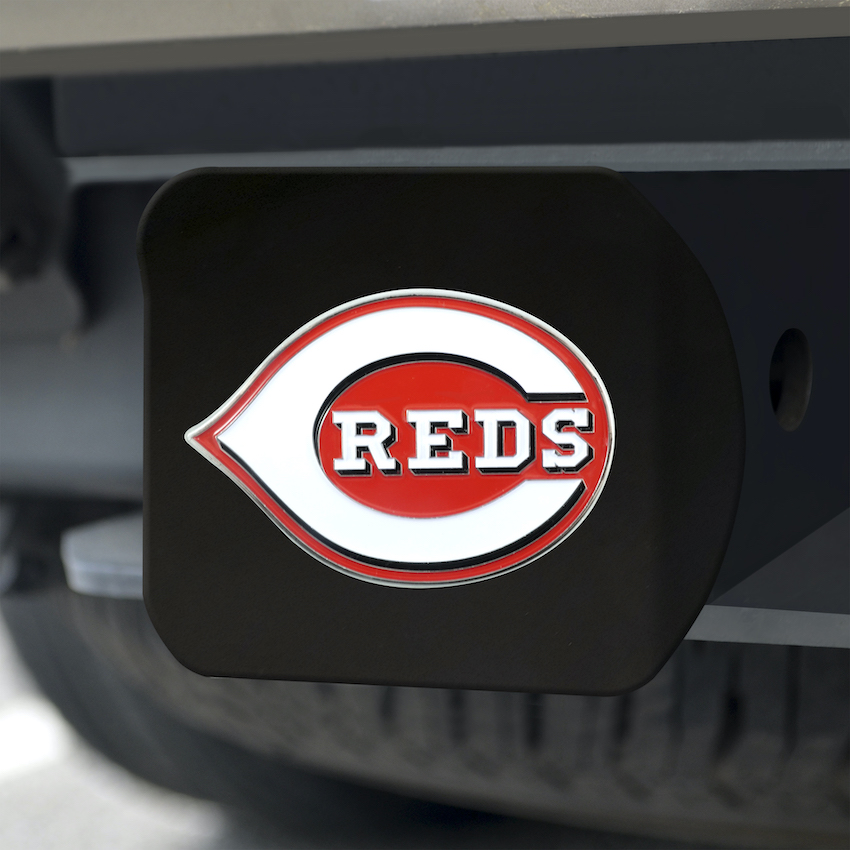 Cincinnati Reds Black and Color Trailer Hitch Cover
