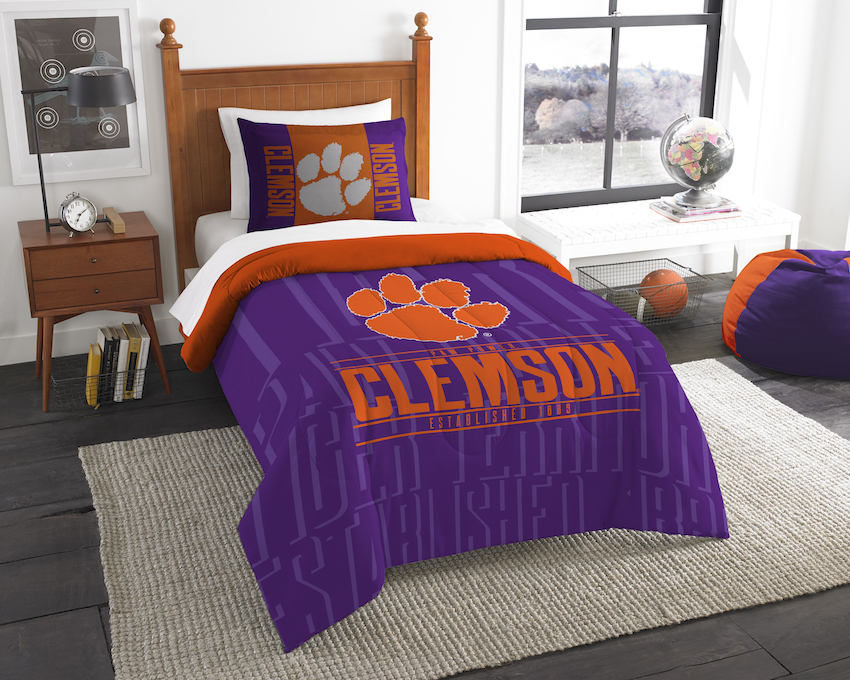 Clemson Tigers Twin Comforter Set with Sham