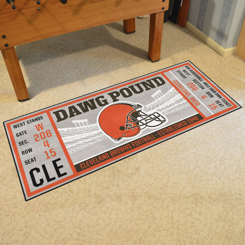 Cleveland Browns 30 x 72 Game Ticket Carpet Runner