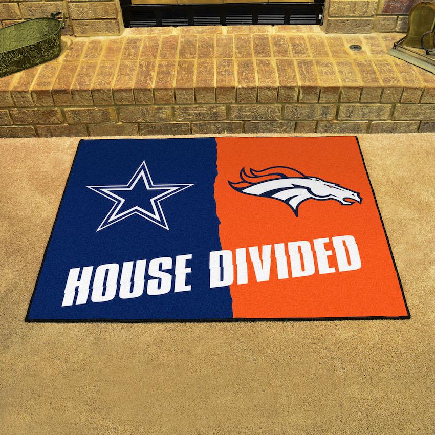 Nfl House Divided Rivalry Rug Dallas Cowboys Denver