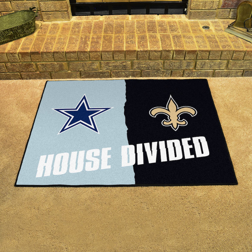 the best attitude 15655 ab848 NFL House Divided Rivalry Rug Dallas Cowboys - New Orleans Saints