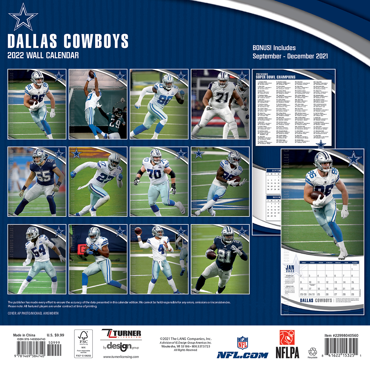 Dallas Cowboys 2018 Nfl Wall Calendar Buy At Khc Sports