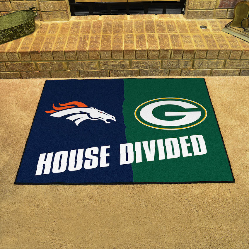 NFL House Divided Rivalry Rug Denver Broncos - Green Bay Packers