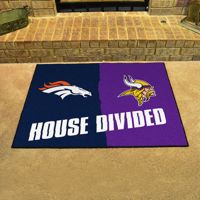 NFL House Divided Rivalry Rug Denver Broncos - Minnesota Vikings