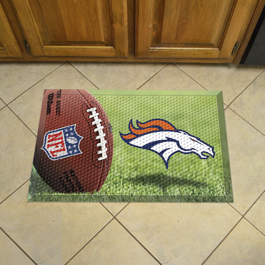 Denver Broncos Ball Style SCRAPER Door Mat