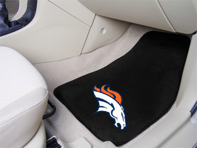 Denver Broncos Car Floor Mats 18 x 27 Carpeted-Pair