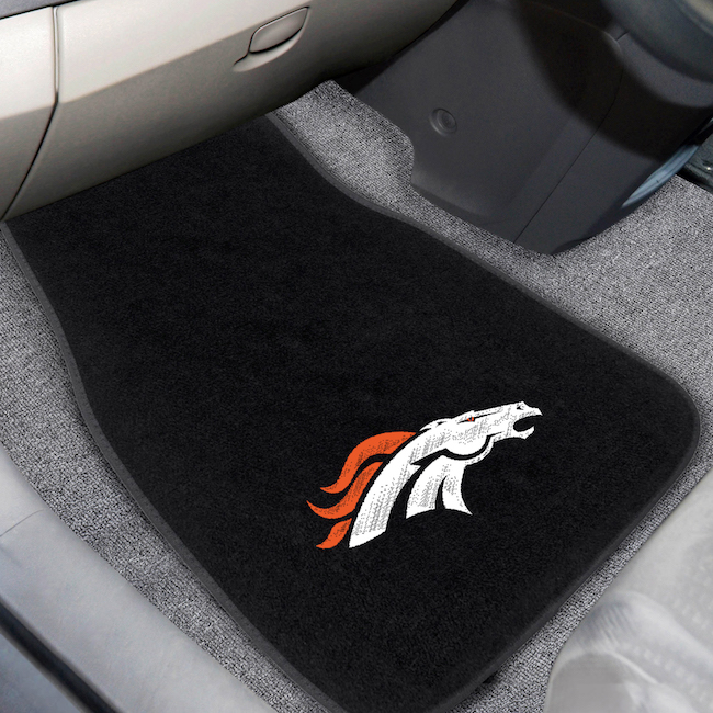 Denver Broncos Car Floor Mats 17 x 26 Embroidered Pair
