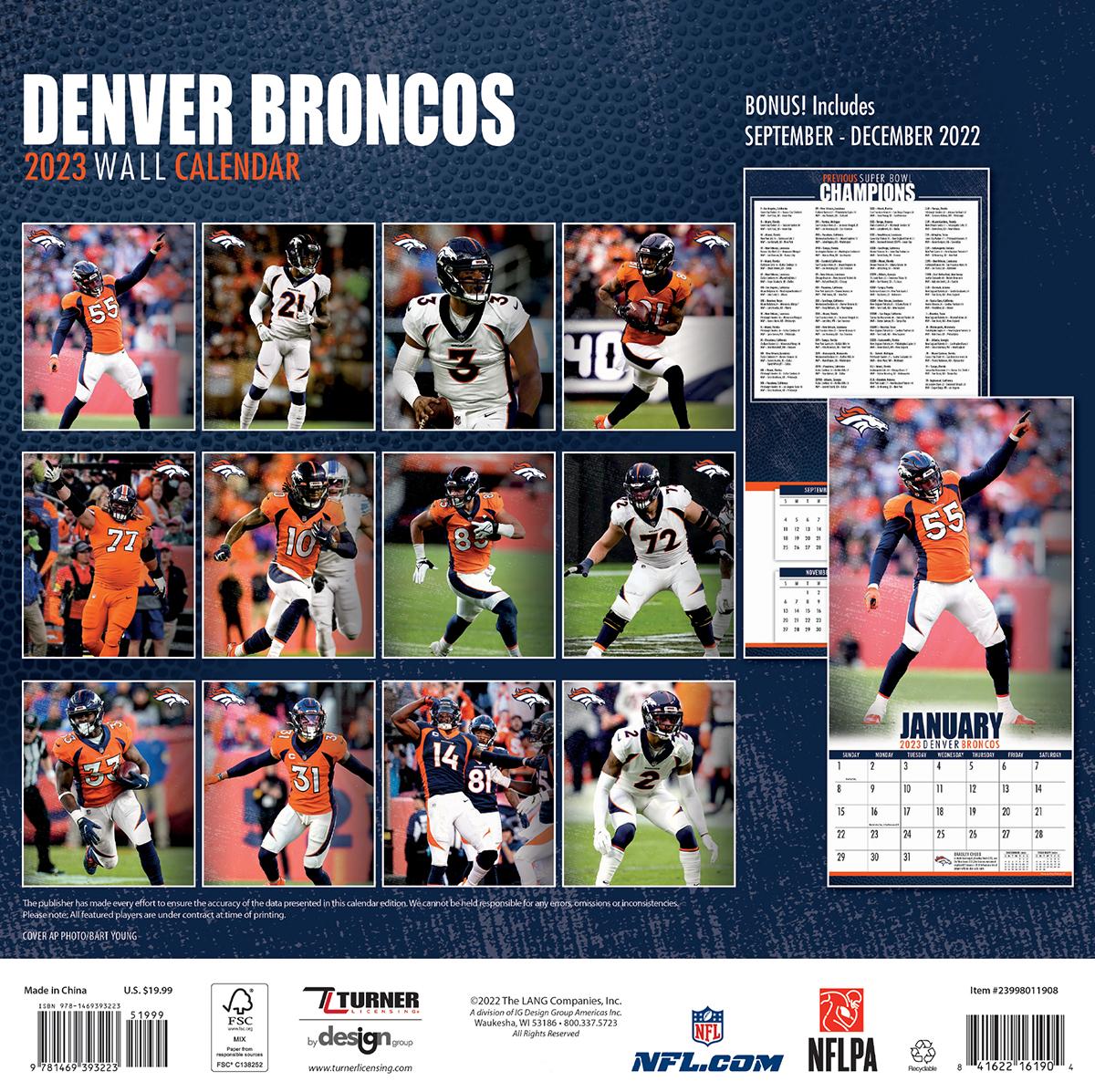 Denver Broncos 2019 NFL Wall Calendar