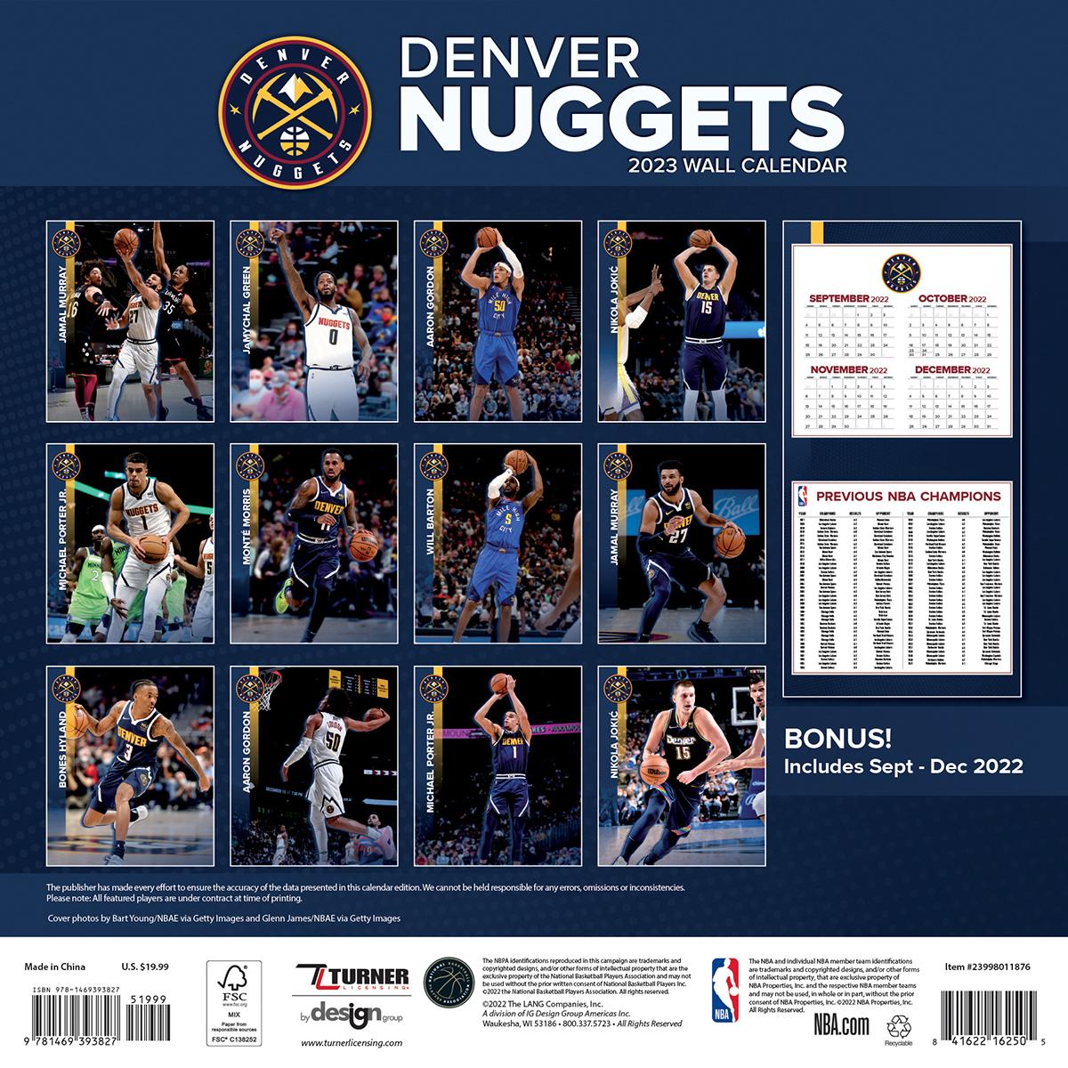 Denver Nuggets 2019 Wall Calendar