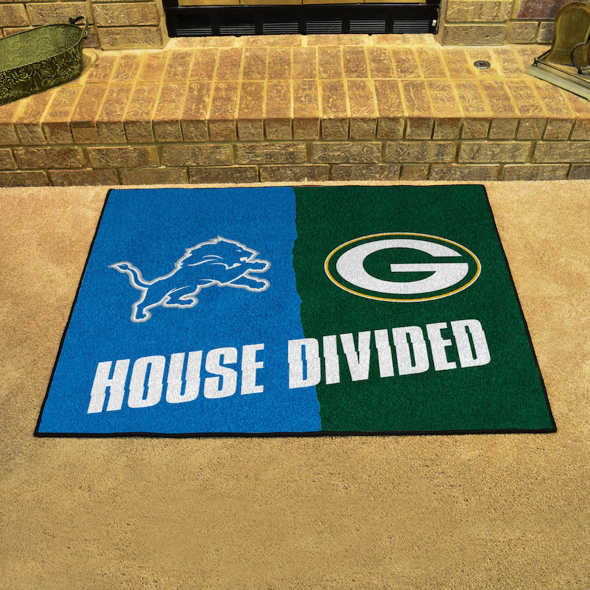 NFL House Divided Rivalry Rug Detroit Lions - Green Bay Packers