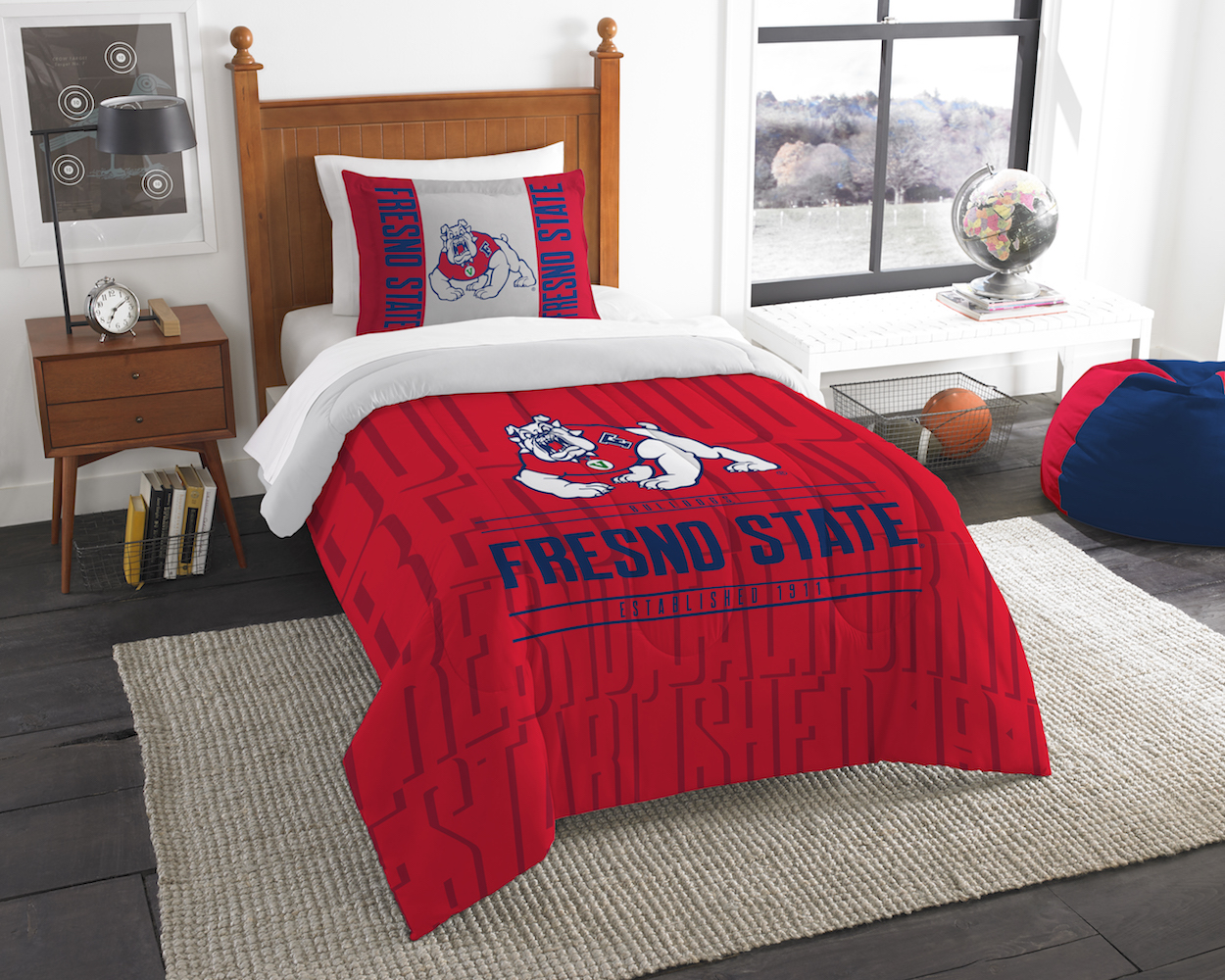 Fresno State Bulldogs Twin Comforter Set with Sham