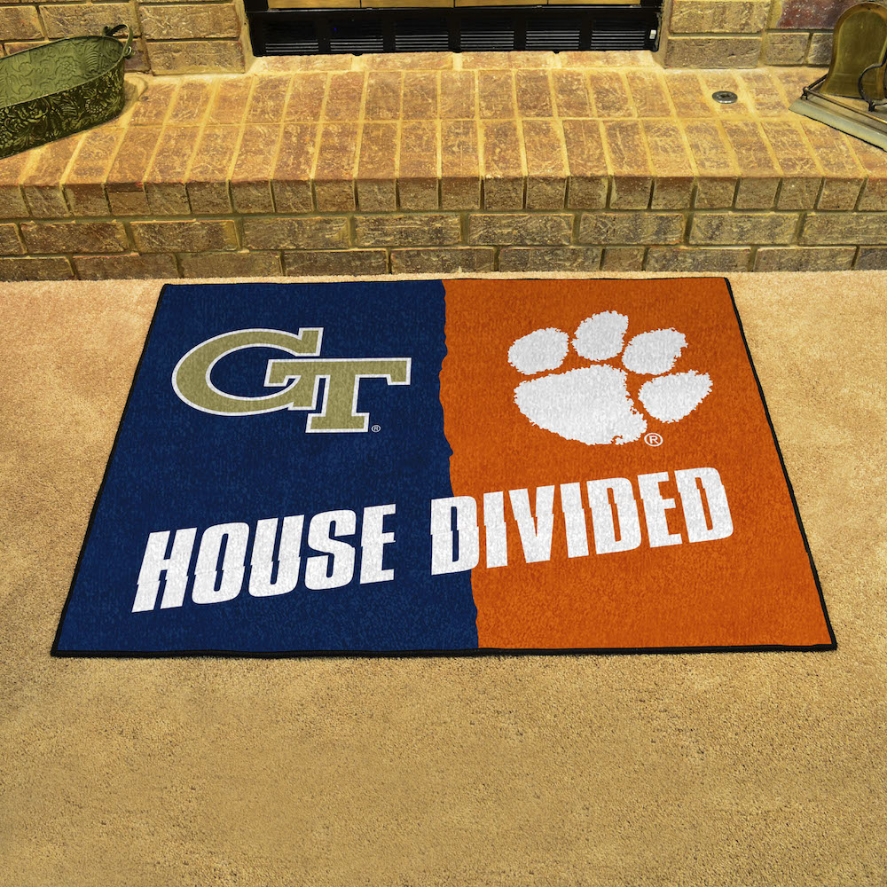 NCAA House Divided Rivalry Rug Georgia Tech Yellow Jackets - Clemson Tigers