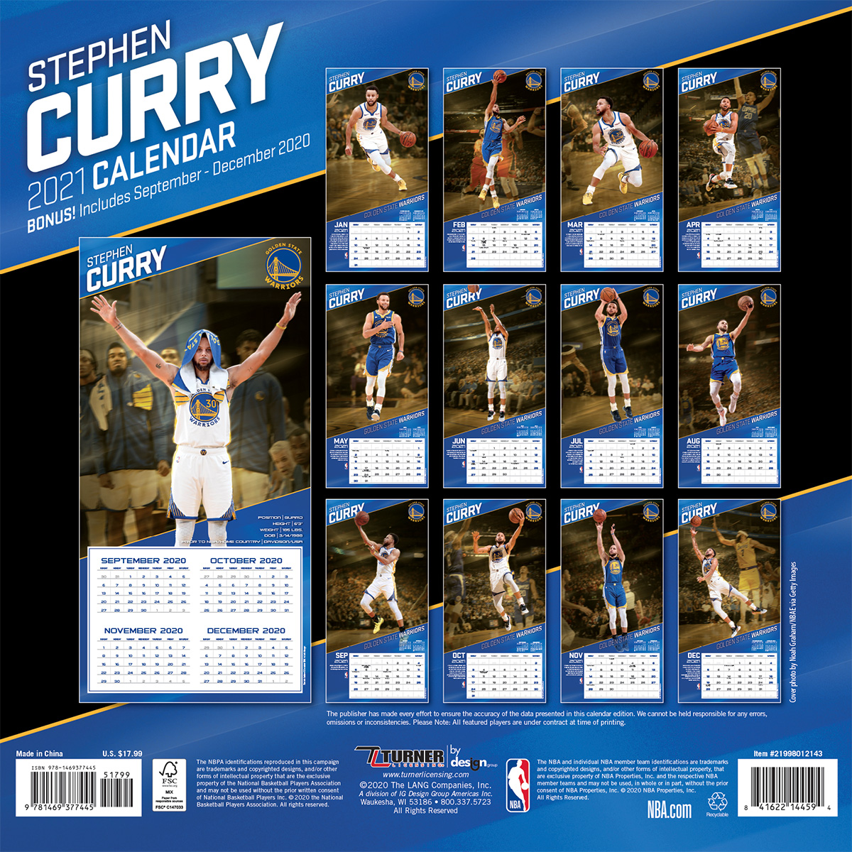 Golden State Warriors Stephen Curry 2019 Wall Calendar - Buy at KHC Sports