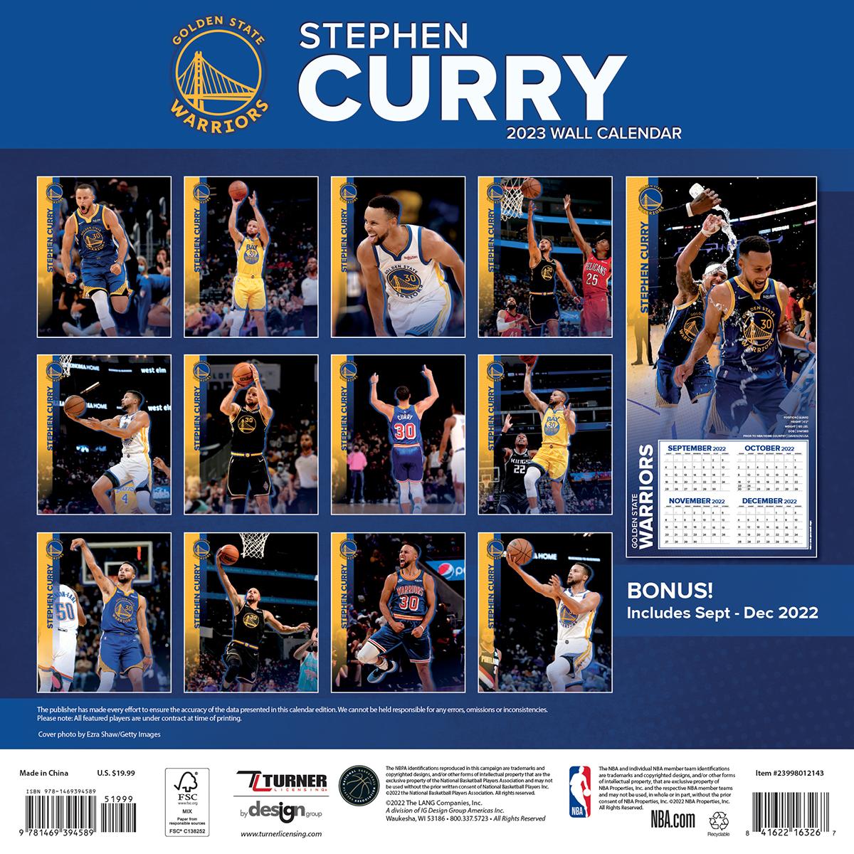 Golden State Warriors Stephen Curry 2019 Wall Calendar