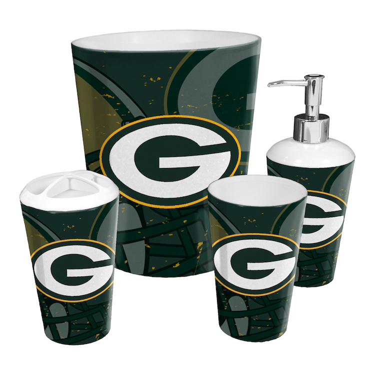 green bay packers 4 piece bathroom accessory set buy at khc sports. Black Bedroom Furniture Sets. Home Design Ideas