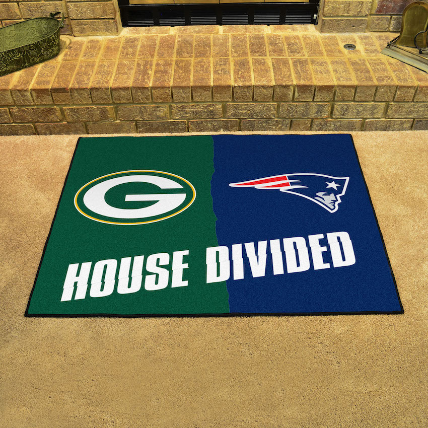 NFL House Divided Rivalry Rug Green Bay Packers - New England Patriots