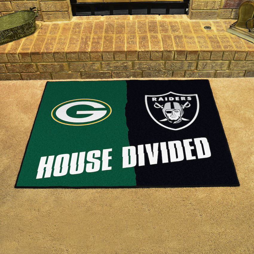 NFL House Divided Rivalry Rug Green Bay Packers - Oakland Raiders