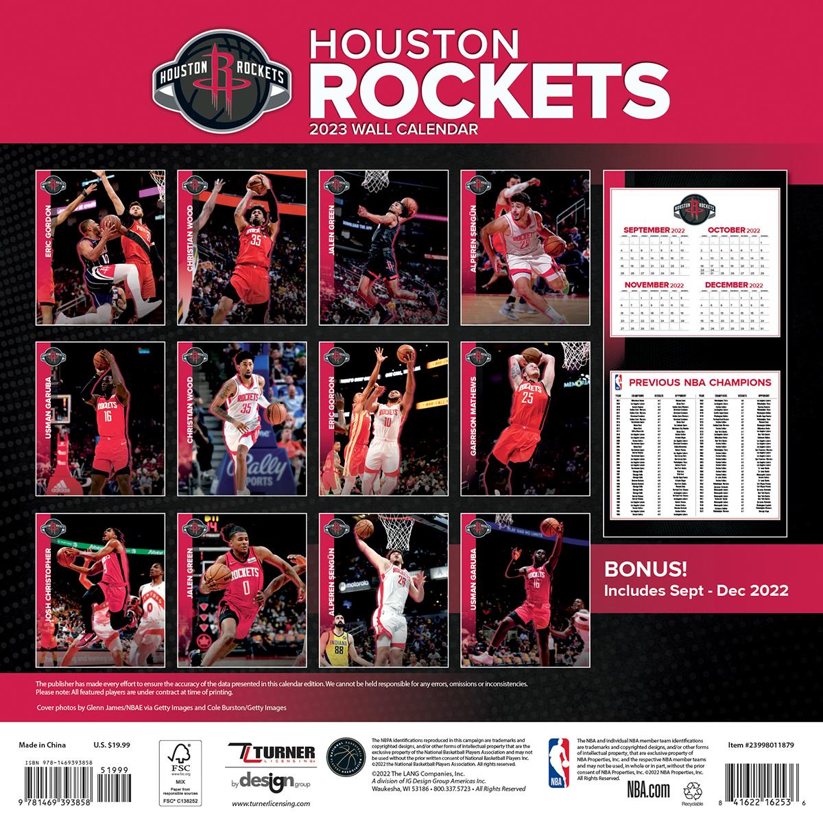 Houston Rockets 2018 Wall Calendar Buy At Khc Sports