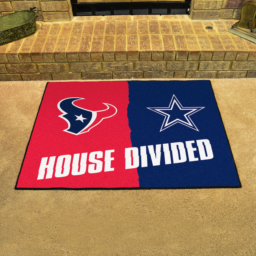 NFL House Divided Rivalry Rug Houston Texans - Dallas Cowboys