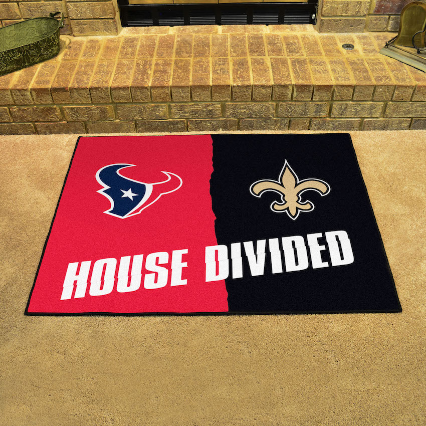 NFL House Divided Rivalry Rug Houston Texans - New Orleans Saints