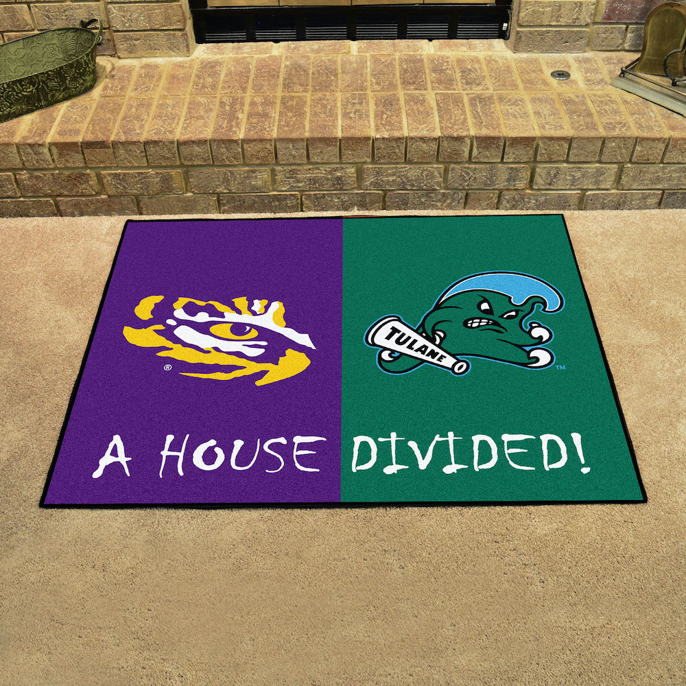 Ncaa House Divided Rivalry Rug Lsu Tigers Tulane Green