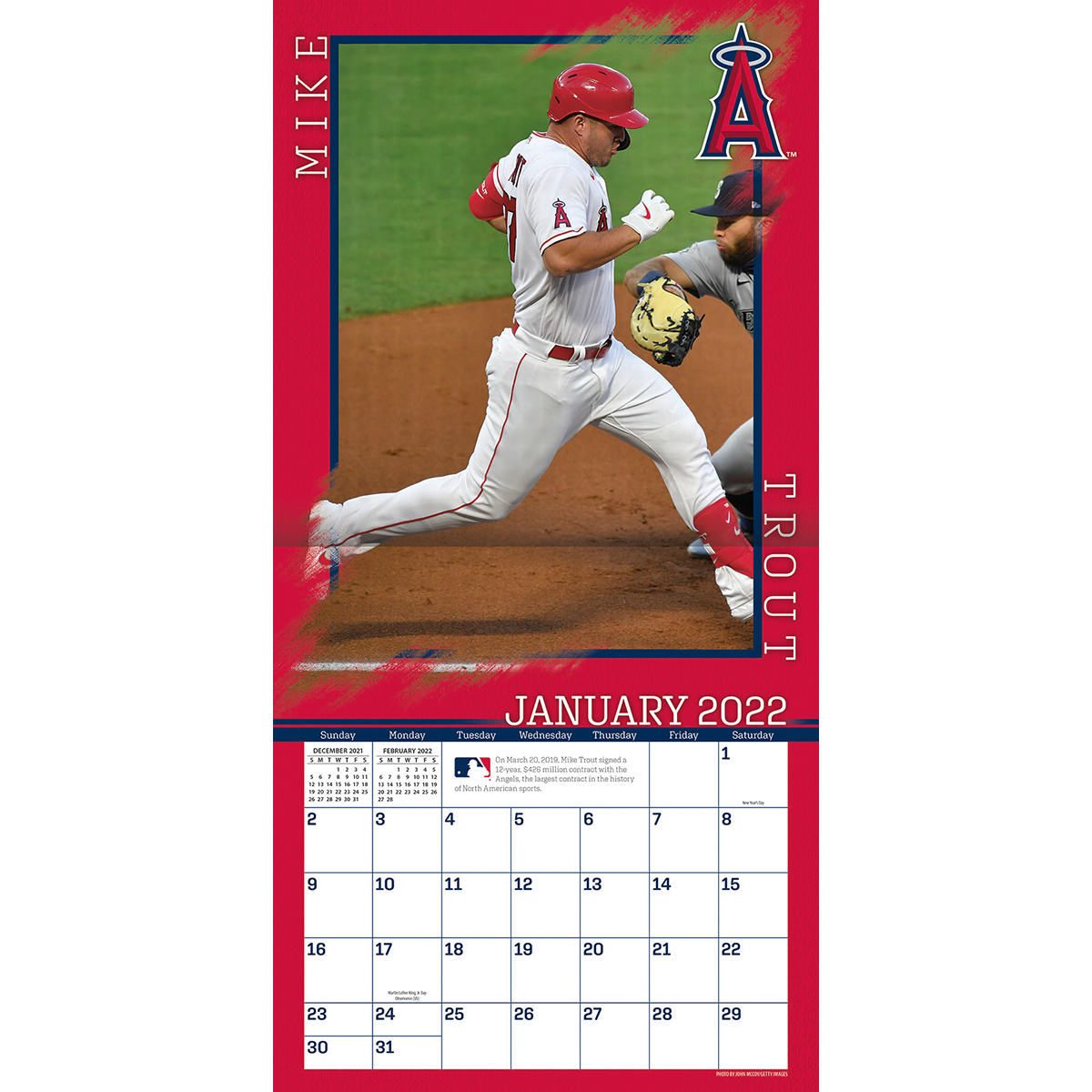 Los Angeles Angels Mike Trout 2018 Mlb Wall Calendar Buy