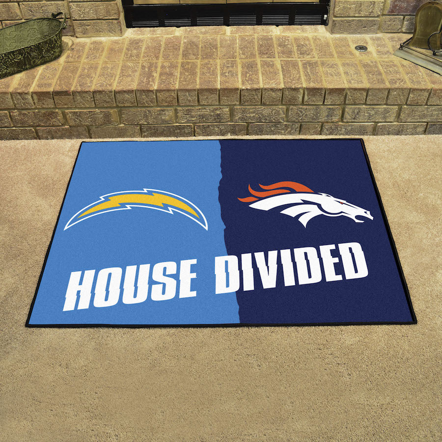 NFL House Divided Rivalry Rug Los Angeles Chargers - Denver Broncos