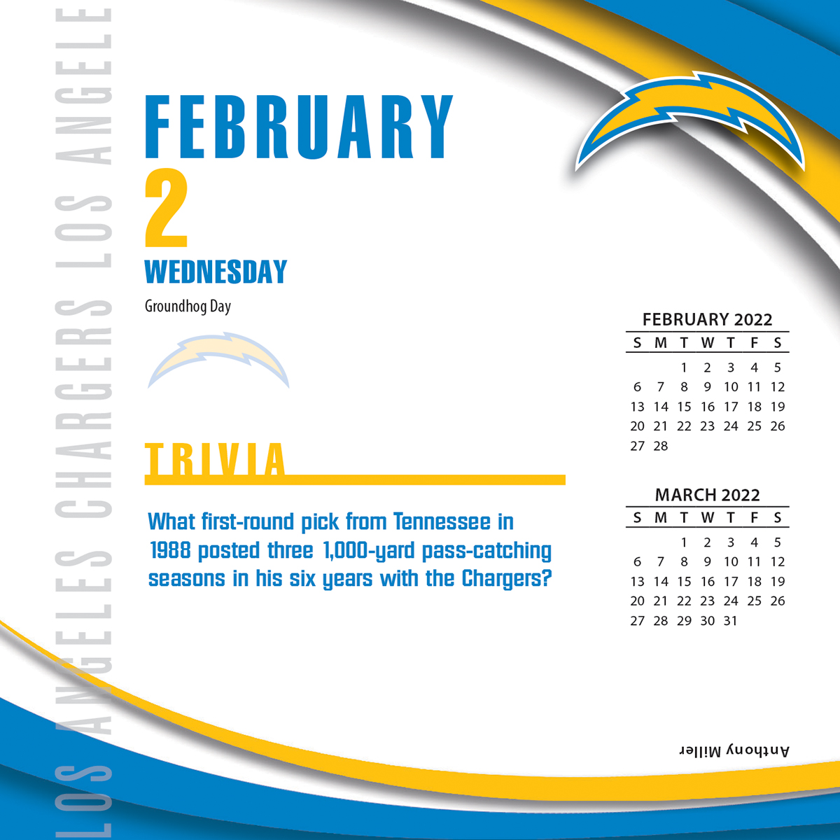 Los Angeles Chargers 2018 Nfl Page A Day Box Calendar