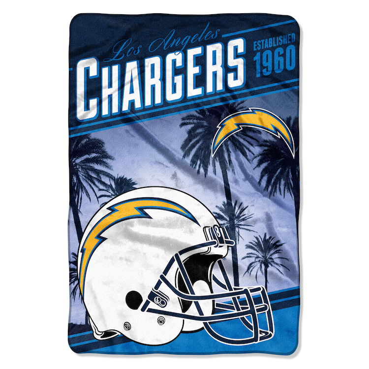 San Diego Chargers Blanket: Los Angeles Chargers OVERSIZED Micro Raschel Blanket 62 X