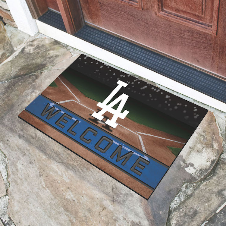 Los angeles dodgers recycled crumb rubber door mat buy for Recycled building materials los angeles