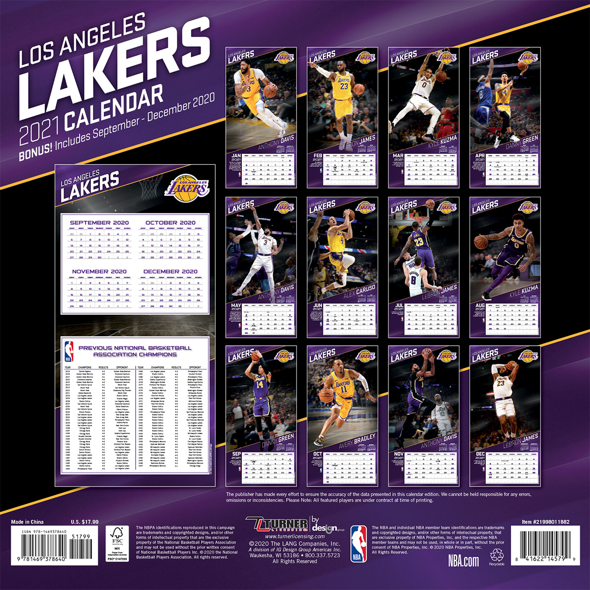 Los Angeles Lakers 2018 Wall Calendar Buy At Khc Sports