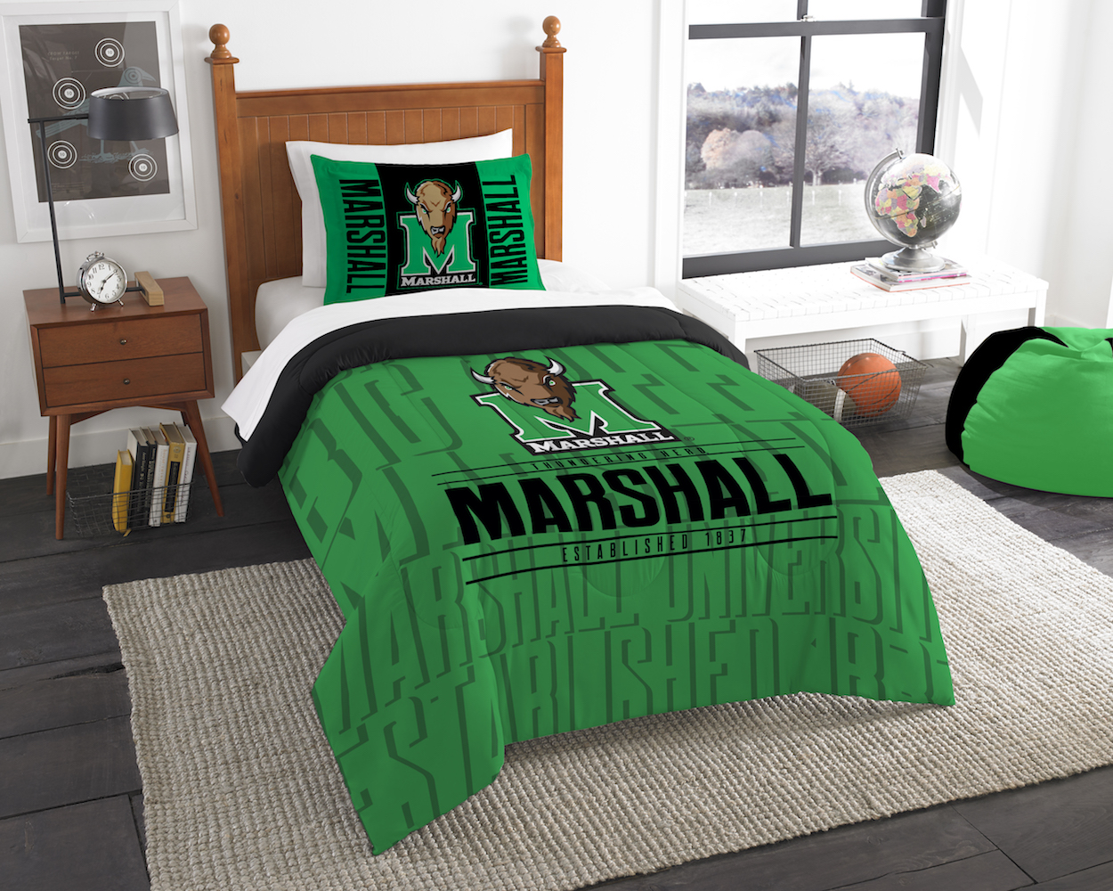 Marshall Thundering Herd Twin Comforter Set with Sham
