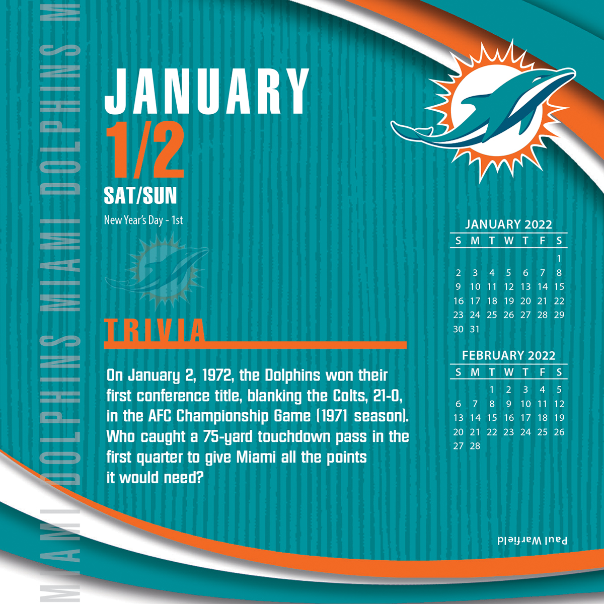 Miami Dolphins 2018 Nfl Page A Day Box Calendar Buy At