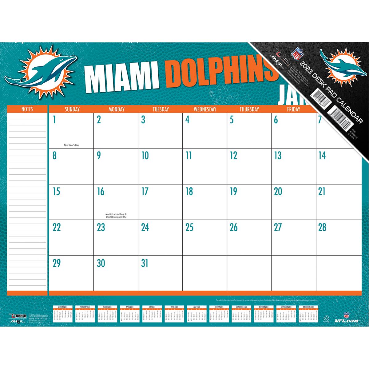 Miami Dolphins 2018 Nfl 22 X 17 Desk Calendar Buy At Khc