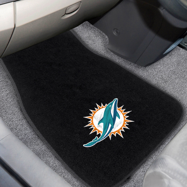 Miami Dolphins Car Floor Mats 17 x 26 Embroidered Pair